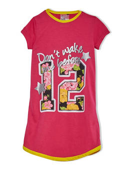 Girls 4-14 T Shirt Nightgown With Cute Graphic And Short Sleeves - FUCHSIA - 5568054730550