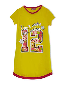Girls 4-14 T Shirt Nightgown With Cute Graphic And Short Sleeves - YELLOW - 5568054730550