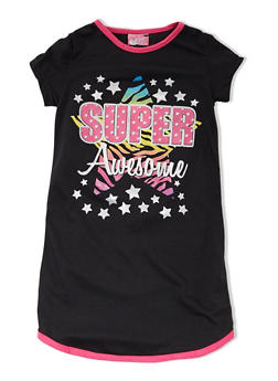 Girls 4-14 Shirt Nightgown with Super Awesome Graphic - BLACK - 5568054730552