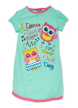 Girls 4-14 Shirt Nightgown with Super Awesome Graphic - MINT - 5568054730552