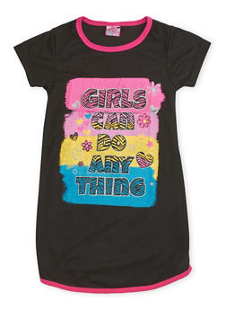 Girls 4-14 Night Gown with Graphic - BLACK - 5568054730565