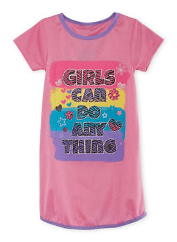 Girls 4-14 Night Gown with Graphic - PINK - 5568054730565