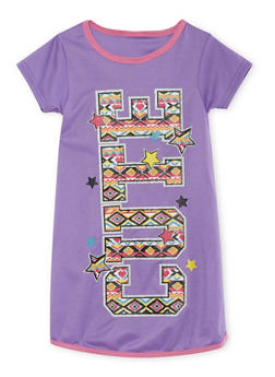 Girls 4-14 Night Gown with Print at Front - PURPLE - 5568054730566