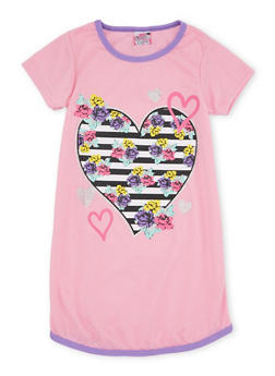 Girls 4-14 Night Gown with Print at Front - PINK - 5568054730566