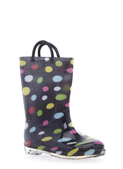 Girls 11-4 Polka Dot Rain Boots with Clear Soles - 5570061120005