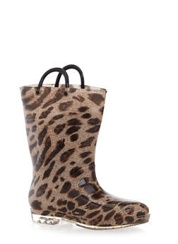 Girls Leopard Print Rain Boots with Clear Soles - 5570061120008
