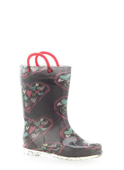 Girls 10-4 Heart Print Rain Boots - 5570061120010