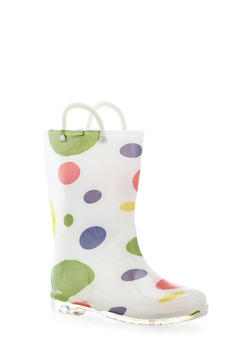 Girls 10-4 Polka Dot Print Rain Boots - 5570061120012