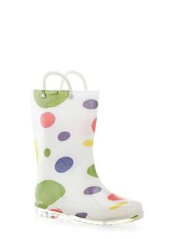 Girls Polka Dot Print Rain Boots - 5570061120012