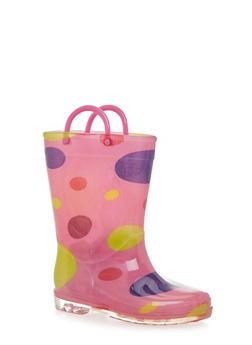 Girls Polka Dot Print Rain Boots - 5570061120013