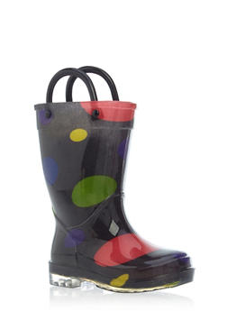 Toddlers 5-10 Girls Polka Dot Rain Boots - 5570061120014