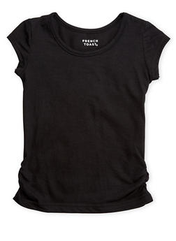 Girls 4-6x French Toast Short Sleeve Crew Neck Tee with Ruched Sides - 5603068320016