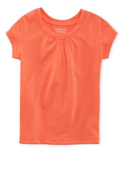 Girls 7-16 French Toast Crew Neck Tee with Shirred Detail - 5604068320018