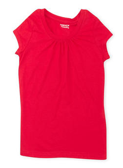 Girls 7-16 French Toast Red Short Sleeve Crew Neck Tee - 5604068320023