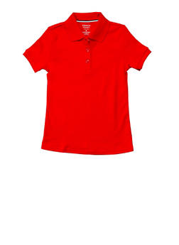Girls 4-6X Short Sleeve Interlock Polo School Uniform - RED - 5801008930030