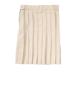 Girls 4-6X Below the Knee Pleated Skirt School Uniform - KHAKI - 5804008930020