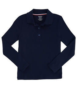 Girls 7-14 Long Sleeve Interlock Knit Polo School Uniform - NAVY - 5814008930020