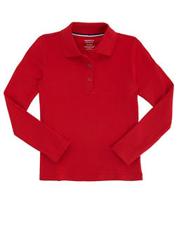 Girls 7-14 Long Sleeve Interlock Knit Polo School Uniform - RED - 5814008930020