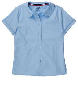 Girls 16-20 Short Sleeve Peter Pan School Uniform Blouse - BABY BLUE - 5822008930020