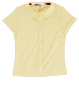Girls 16-20 Short Sleeve Peter Pan School Uniform Blouse - YELLOW - 5822008930020
