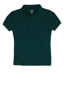 Girls 16-20 Short Sleeve Interlock Polo School Uniform - HUNTER - 5823008930030