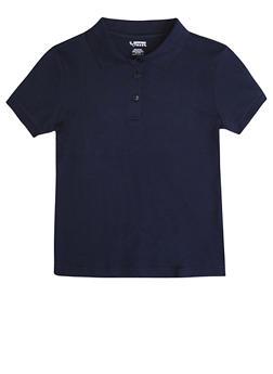 Girls 16-20 Short Sleeve Interlock Polo School Uniform - NAVY - 5823008930030