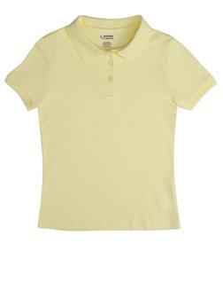 Girls 16-20 Short Sleeve Interlock Polo School Uniform - YELLOW - 5823008930030