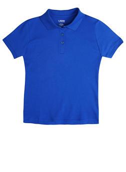Girls 16-20 Short Sleeve Interlock Polo School Uniform - SKY BLUE - 5823008930030