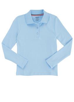 Girls 16-20 Long Sleeve Interlock Knit Polo School Uniform - BABY BLUE - 5825008930025