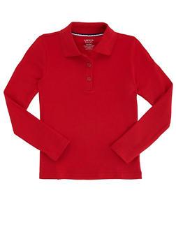 Girls 16-20 Long Sleeve Interlock Knit Polo School Uniform - RED - 5825008930025