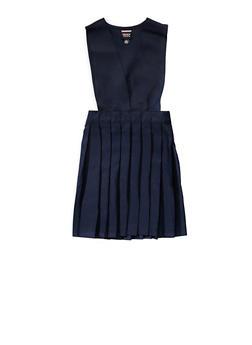 Girls 16-20 V Neck Pleated Jumper School Uniform - NAVY - 5829008930020