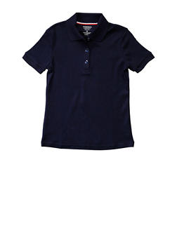 Girls Plus Size Short Sleeve Interlock Polo School Uniform - NAVY - 5834008930020