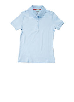 Girls Plus Size Short Sleeve Interlock Polo School Uniform - SKY BLUE - 5834008930020