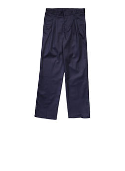 Boys 4-7 Adjustable Waist Pleated Double Knee Pants School Uniform - NAVY - 5855008930050