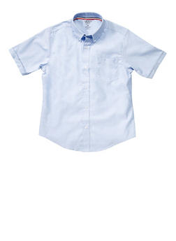 Boys 8-14 Short Sleeve Oxford Shirt School Uniform - SKY BLUE - 5860008930050