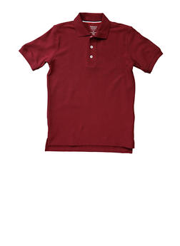 Boys 8-14 Short Sleeve Pique Polo School Uniform - WINE - 5861008930050