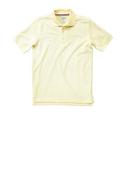 Boys 8-14 Short Sleeve Pique Polo School Uniform - YELLOW - 5861008930050