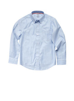 Boys 8-14 Long Sleeve Oxford School Uniform Shirt - BABY BLUE - 5862008930020