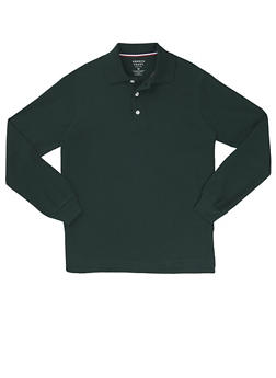 Boys 8-14 Long Sleeve Pique Polo School Uniform - HUNTER - 5863008930020