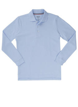 Boys 8-14 Long Sleeve Pique Polo School Uniform - BABY BLUE - 5863008930020