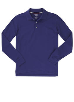 Boys 8-14 Long Sleeve Pique Polo School Uniform - NAVY - 5863008930020