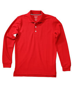 Boys 8-14 Long Sleeve Pique Polo School Uniform - RED - 5863008930020
