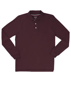 Boys 8-14 Long Sleeve Pique Polo School Uniform - WINE - 5863008930020