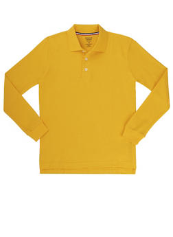 Boys 8-14 Long Sleeve Pique Polo School Uniform - YELLOW - 5863008930020