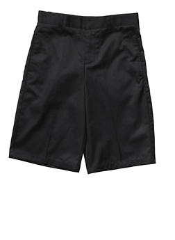 Boys 8-14 Flat Front Adjustable Waist Shorts School Uniform - BLACK - 5864008930050
