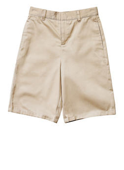 Boys 8-14 Flat Front Adjustable Waist Shorts School Uniform - KHAKI - 5864008930050