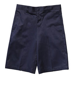Boys 8-14 Flat Front Adjustable Waist Shorts School Uniform - NAVY - 5864008930050