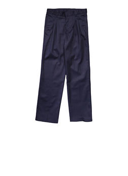 Boys 8-14 Adjustable Waist Pleated Double Knee Pants School Uniform - NAVY - 5865008930050