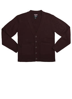 Boys 8-14 Cardigan Sweater School Uniform - WINE - 5866008930021