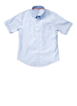 Boys 16-20 Short Sleeve Oxford Shirt School Uniform - SKY BLUE - 5870008930050